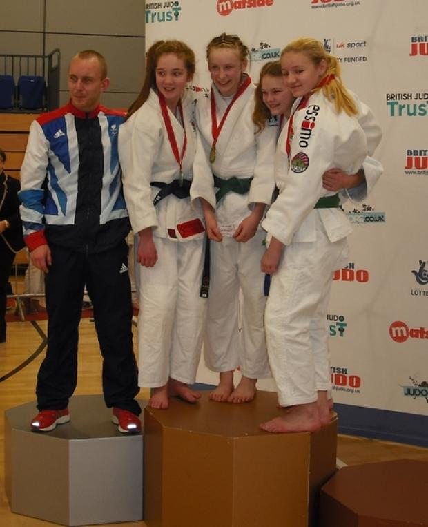 Silver success: Samurai Judo Club's Bryony Griffiths (second from left), shows off the silver she won at the British Junior National Championships.