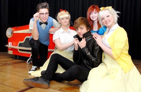 Grease lightning: Cast members from left, Will Atkinson, 16, Danielle Foster, 15, Jim Beardsmore, 15, Ellisha Green, 13, and Zoe Fuller, 17.