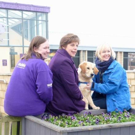 left to right - Claire Harper (Webbs pet sales assistant), puppy walker Alison Nuttall, Abbey the puppy, Catrin Rod (community fundraiser for Guide Dogs).