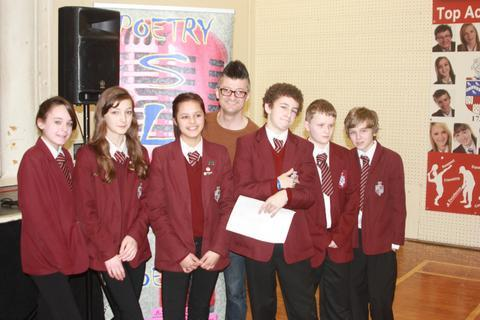 Rhyme time: Poet Spoz, centre, with Lacon Childe pupils.