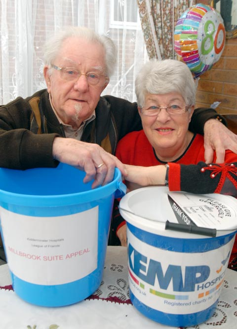 Special donations: Dan Jeavons, who collected money for three charities serving Wyre Forest instead of receiving birthday presents, with wife Janet. Picture: MIRIAM BALFRY. 061322M.