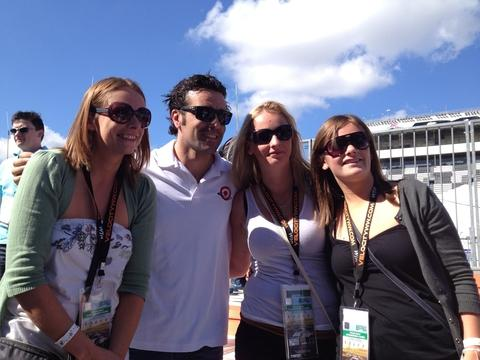 Race day: From left, Claire Montague, Scottish racing driver Dario Franchitti, Laura and Sarah Harding.