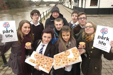 Safe zone: Parklife volunteers and Bewdley High pupils with senior youth worker, Katy Shipley, right.