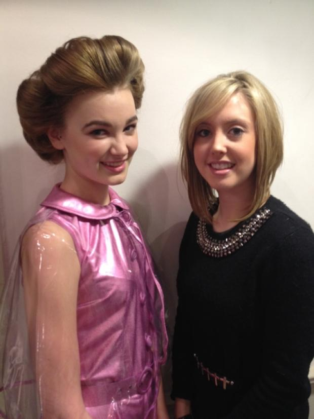 Hair-raising: Lucy Potter, left, with her model, Sophie Hicks