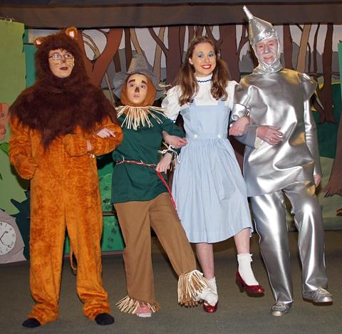 Panto time: The lion, Scarecrow, Dorothy and Tin Man hope to find the Wizard in Areley Kings.