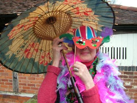 Half-term fun: Lynn Parsons, museum roleplayer, prepares for the festival crafts activities.