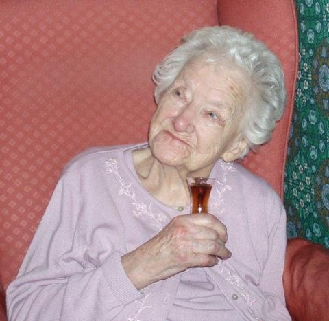 Kidderminster Shuttle: Celebrations: Florence Reeve on her 105th birthday with a sherry.