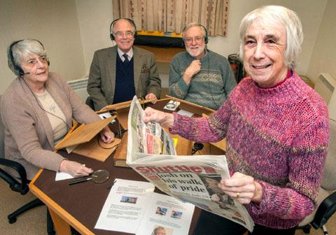 Talking newspaper: Volunteers, from left, readers Valerie Bradley and David Condy, technician Peter Hodges and chairman Fran Hodges.