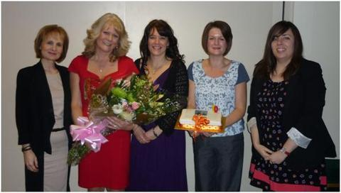 Celebrations: Mentor Link employees from left, Del Bell, Andrea Maddocks, Karen Arnold, Claire Quinn and Lucy Blackford.