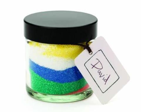 Colourful reminders: An example of a Kemp Hospice memory jar.