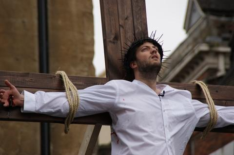 BEWDLEY PASSION: Jesus, played by Jared Thomas, dies on the cross during last year's production.
