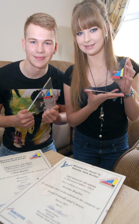 Family support: Chloe and Josh Bayliss with their Tryangle awards.