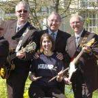 Rocking out: Ele Millward, centre, with Lyvewyre, from left, Richard Yates, Steve Webb, Pete Bishop and Terry Chandler.