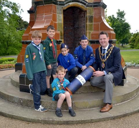 Frozen in time: Kidderminster mayor John Campion with, middle, from left, Boys' Brigade members Craig Bateman and Brody Snow and, front, from left, Cubs Oliver Biggin and Joseph Hill and Beaver Jack Hill. Picture: Colin Hill.