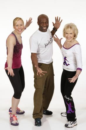 Fitness fanatics: Sandra Todd, Kardy Laguda and Rosemary Conley get ready for Kidderminster's workout party.