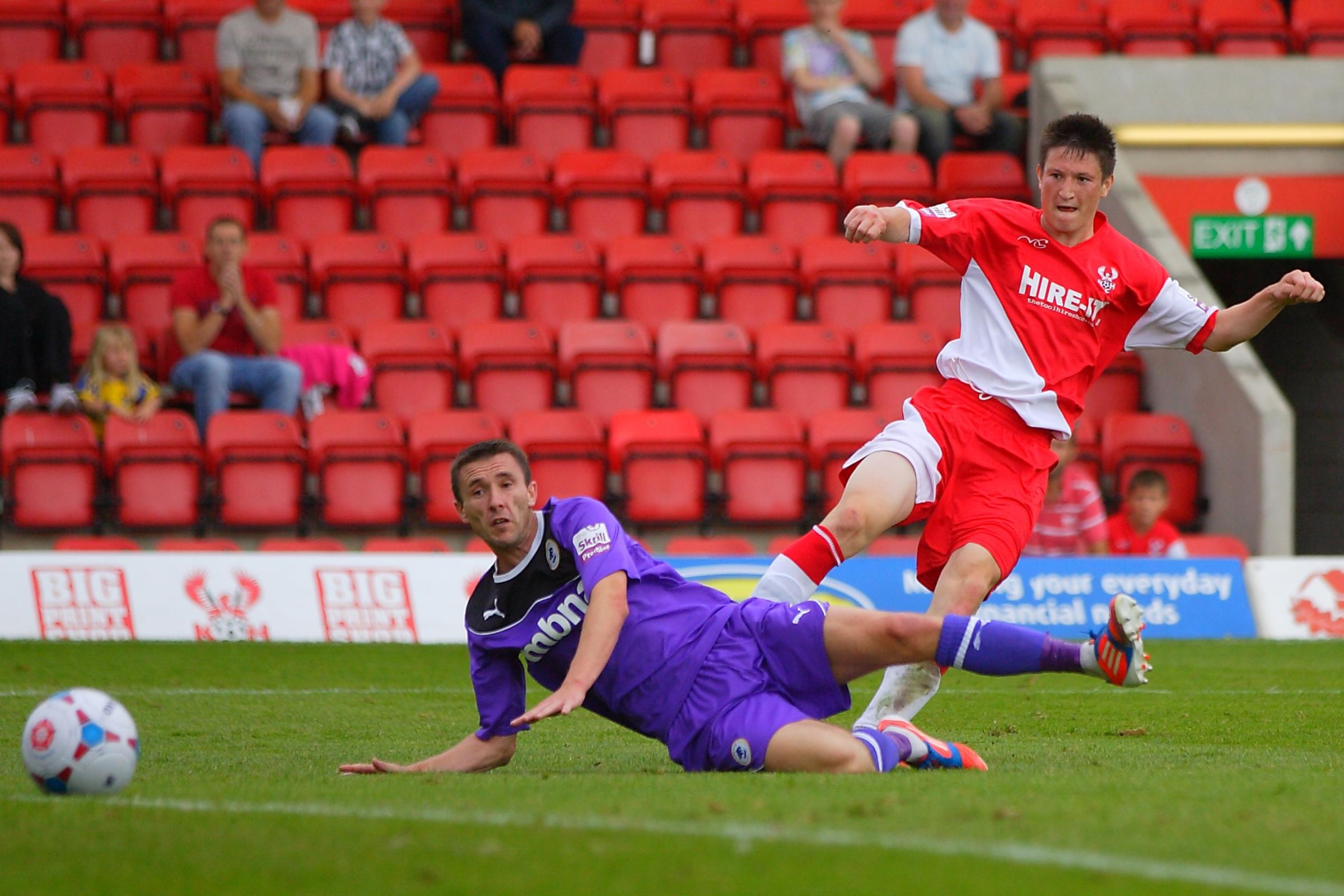Great talent: Joe Lolley who scored a spectacular goal and made the other last night against Halifax.