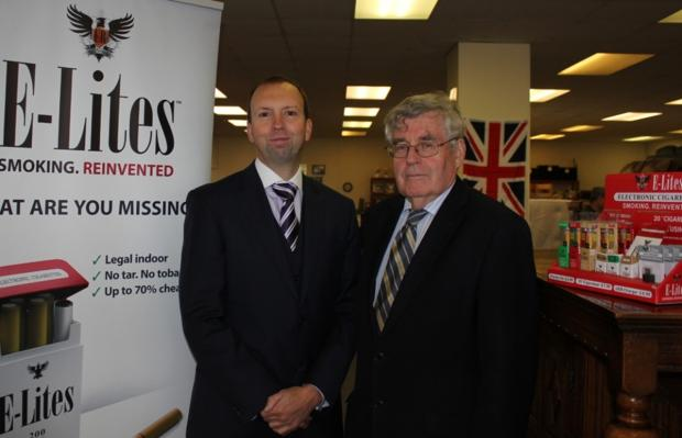 Working together: Brigadier Peter Jones, right with Trevor Field, sales and marketing director, E-Lites.