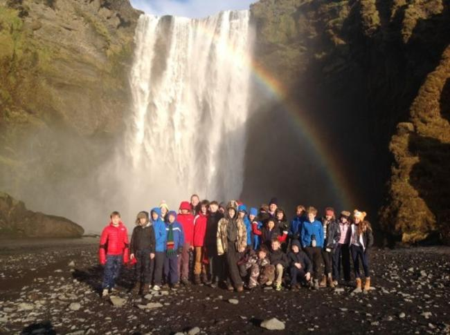 Icelandic adventure: Pupils and staff from Abberley Hall School at Skogafoss Falls in Iceland.