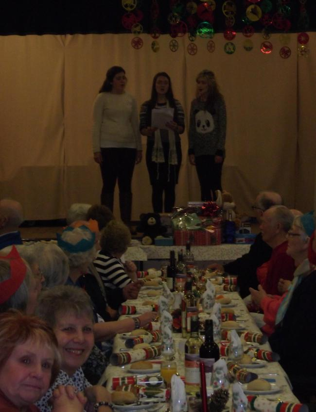 Haybridge students in action at Stourbridge Age Concern Christmas party