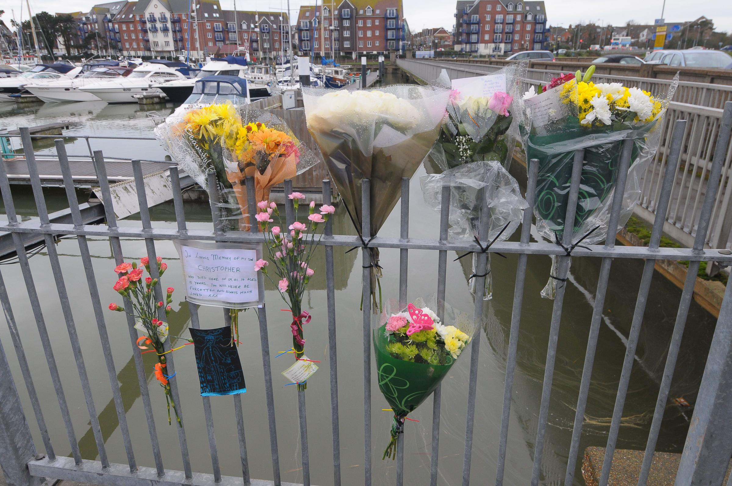 Tributes: People have left flowers and notes for Christopher Vaughan.