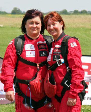 High flyers: Helen Clark e and Sherrie McCammon took the plunge for the Midlands Air Ambulance.