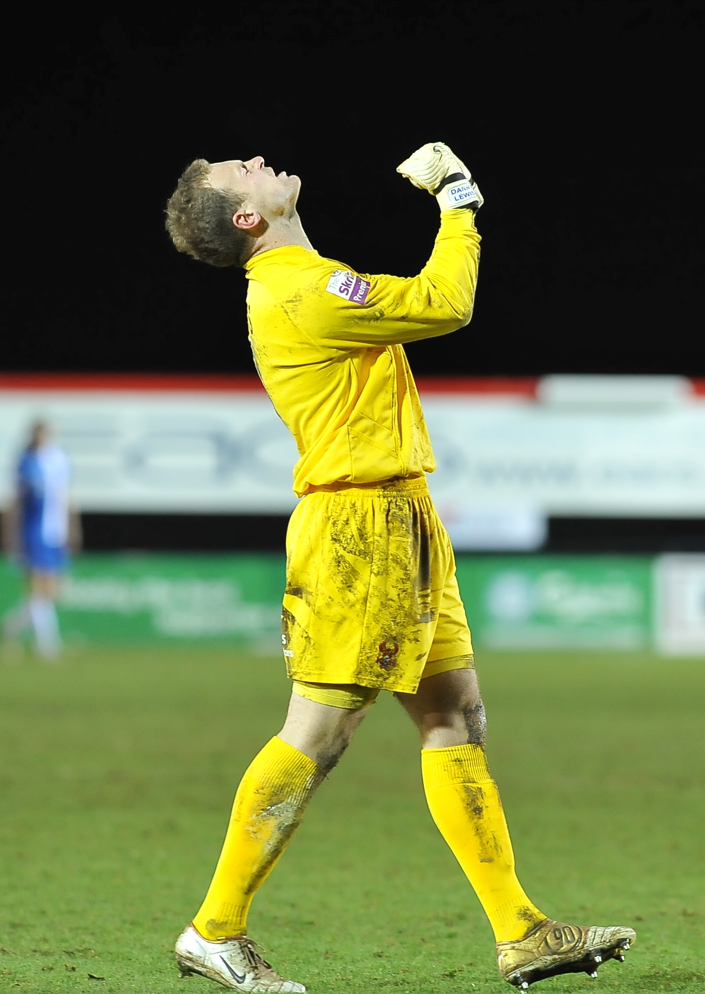 Cup joy: Danny Lewis savours Harriers' superb FA Cup win over The Posh. Picture: DAVID LOWNDES