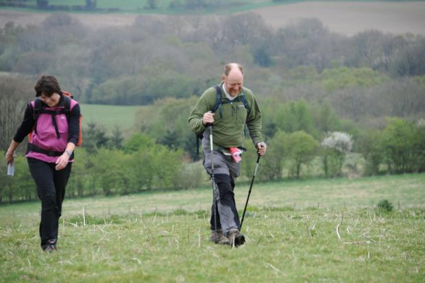 Striding out: Walkers taking part in a previous Rock Pound the Bounds event.