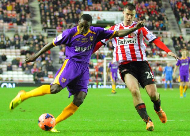 Freddie Ladapo in action for Harriers against Sunderland.