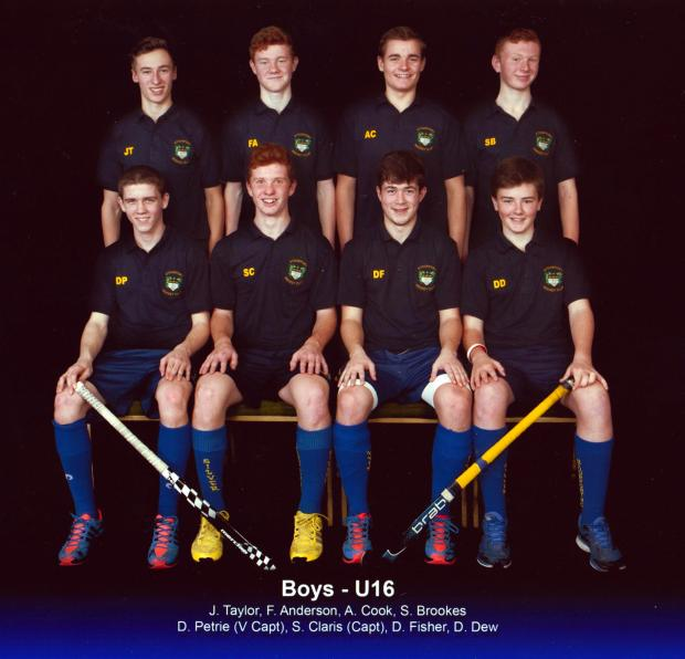 Finals fling: Determined Stourport under-16s who reached the last four of a national hockey tournament.