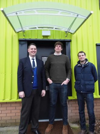 NEW PREMISES: John Campion (left) with business owners Tristan Palmer and Calum Merrick, the first occupants of the new Space business centre.