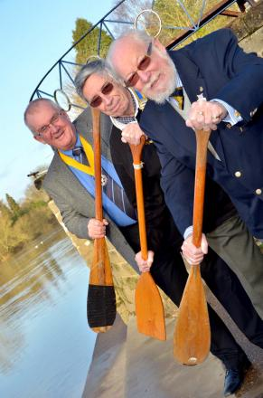 MAKING A SPLASH: From left, Bewdley Rotary's Bob Hill and Keith Perkins and Bewdley Rowing Club chairman Bob Bayliss. Photo: Colin Hill.