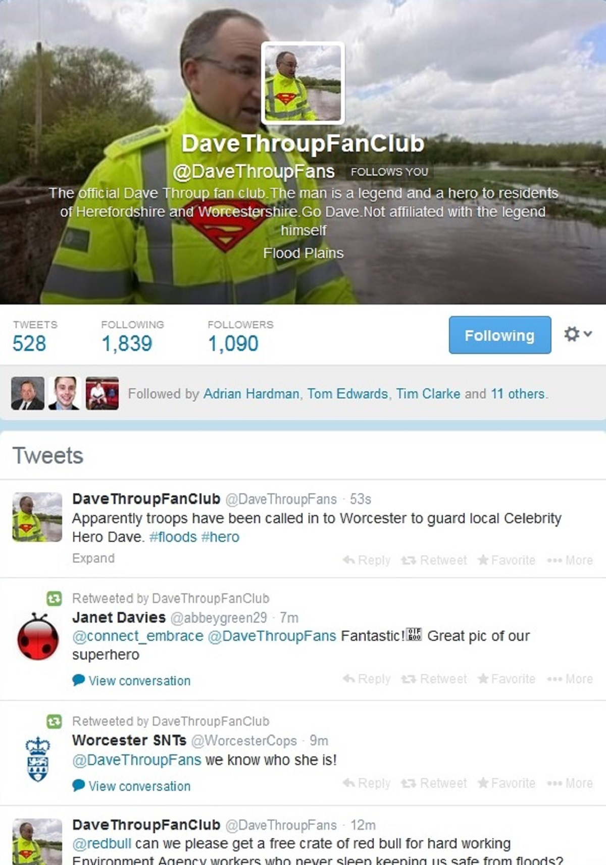 FLOODING HERO: Environment Agency worker Dave Throup's twitter fan page.