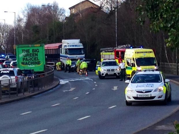 ROAD ACCIDENT: The scene of the crash.