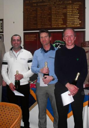 TEEING OFF: From left, last year's champions from Plester Financial Services Julian Furnival, Rob Bray and Richard Williams.