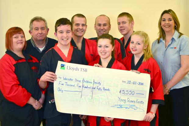 RECORD-BREAKING: Young Gloves Karate members raised £5,550 for Worcester Deaf Children's Society.