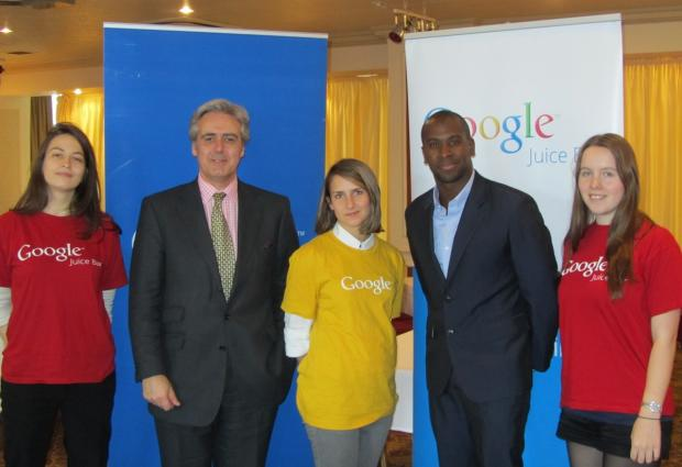 'ECONOMY'S LIFEBLOOD': Mark Garnier, second from left with Gori Yahaya, Juice Bar manager, second from right and the Google team.