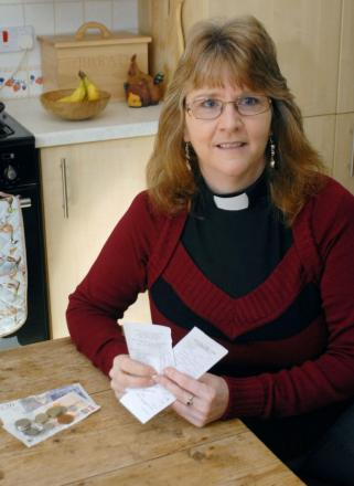 SHOW OF SOLIDARITY: Rev Eva McIntyre is living on a foodbank budget of £33.37 a week for Lent. Picture: Miriam Balfry. 111436M.