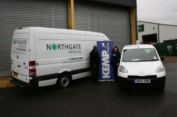 LENDING A HAND: Branch manager Conrad Smith and Julie Hicks from Kemp Hospice's fundraising team with the donated van.