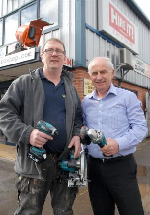 TOUCHED BY DONATIONS: Vaughan Lendon-Montrose, with John Davies, of Hire It, who has replaced his tools