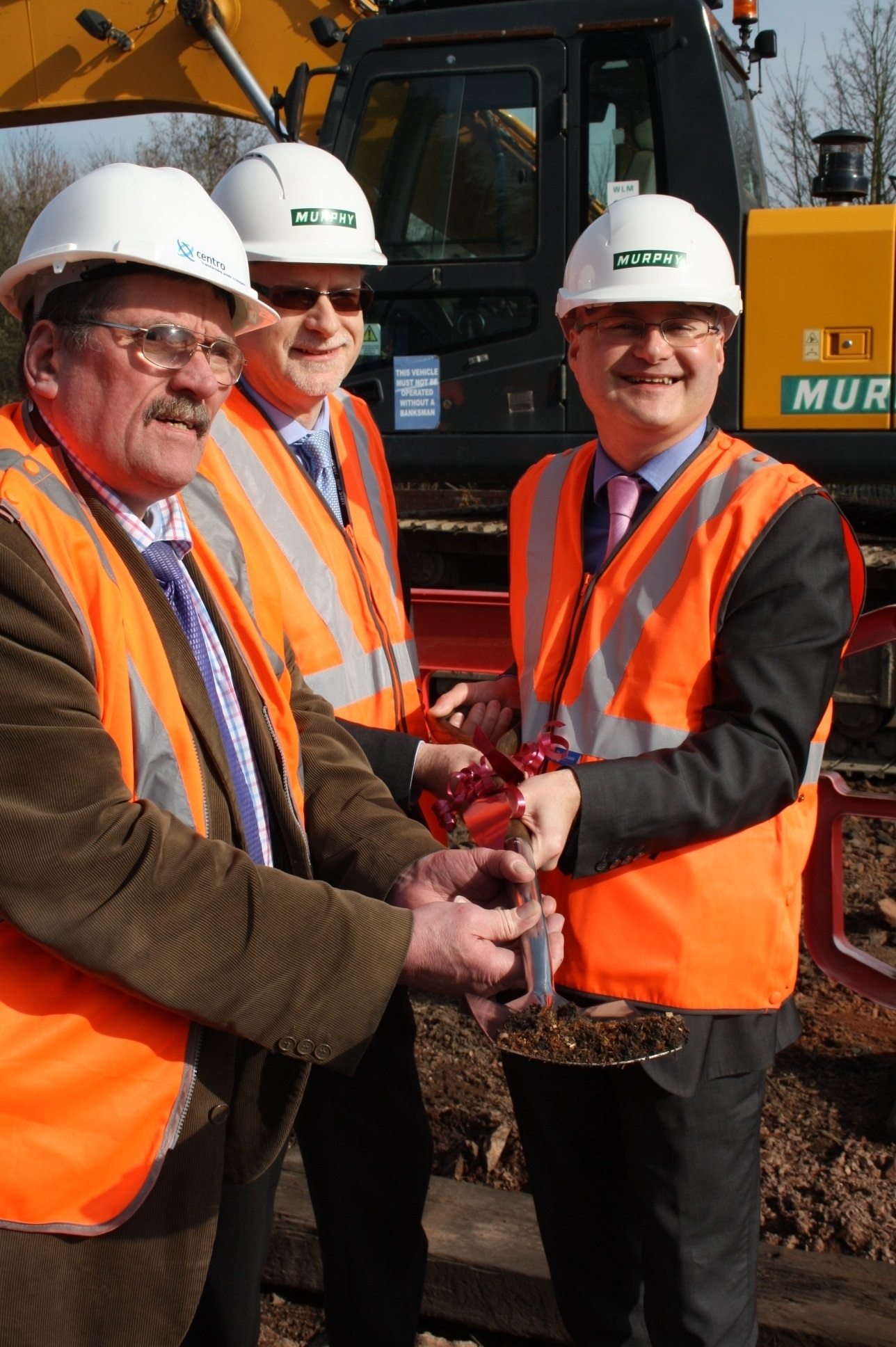 left to right - Cllr Roger Horton (Centro Lead Member for Rail), Rod Sillence (Sponsor at Network Rail) and Cllr Simon Geraghty (County Council Deputy Leader and Cabinet Member for Economy, Skills and Infrastructure)