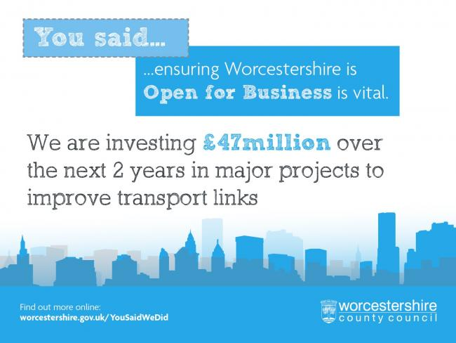 We are investing £47million over the next 2 years in major projects to improve transport links