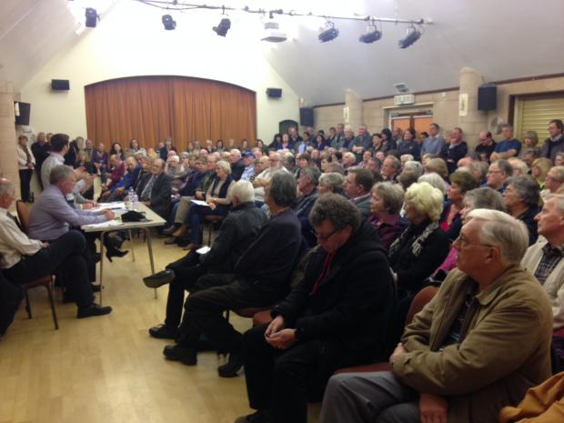 PACKED MEETING: About 150 residents attended the debate at Areley Kings Village Hall in the second of three public meetings to discuss plans.
