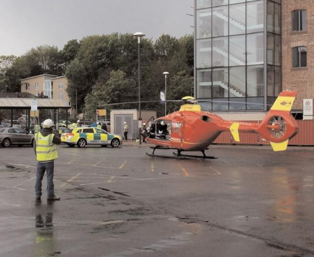 TOWN CENTRE DRAMA: The air ambulance landed next to the town centre construction site where Valerie Hurst suffered life-changing injuries.