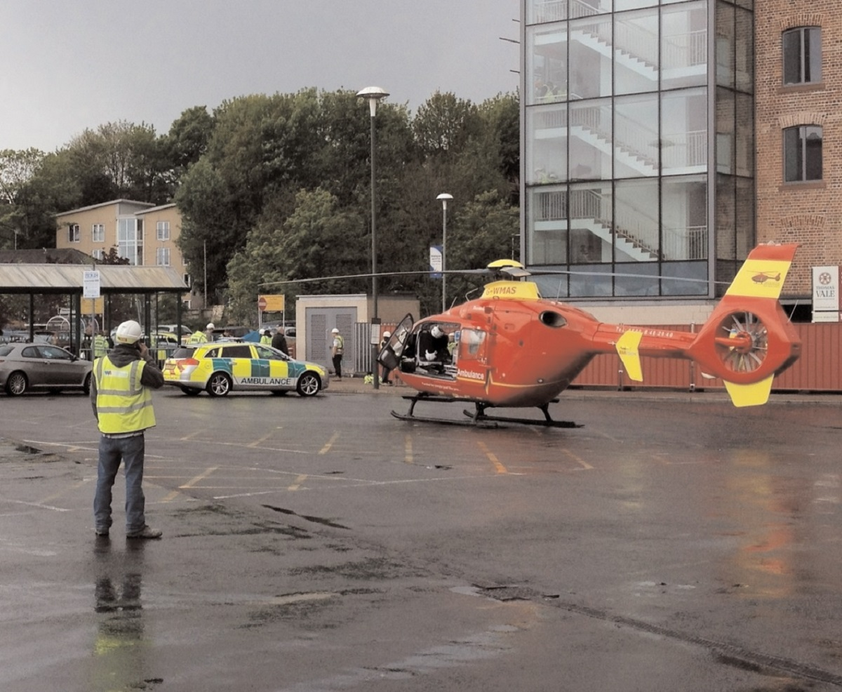 INJURIES: The air ambulance landed in Kidderminster town centr