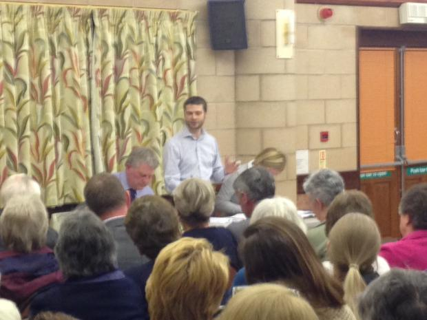 TESCO PLANS: Simon Petar addresses a meeting about a different planned Tesco store.
