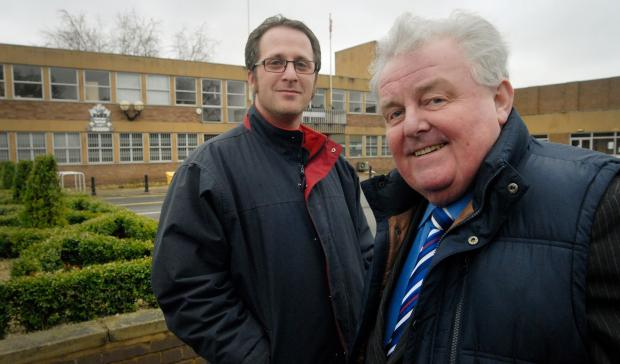 NATIONAL RECOGNITION: John Caldwell, left, with John Holden outside Stourport's Civic Centre and Civic Hall. Picture: Phil Loach. 111409L.