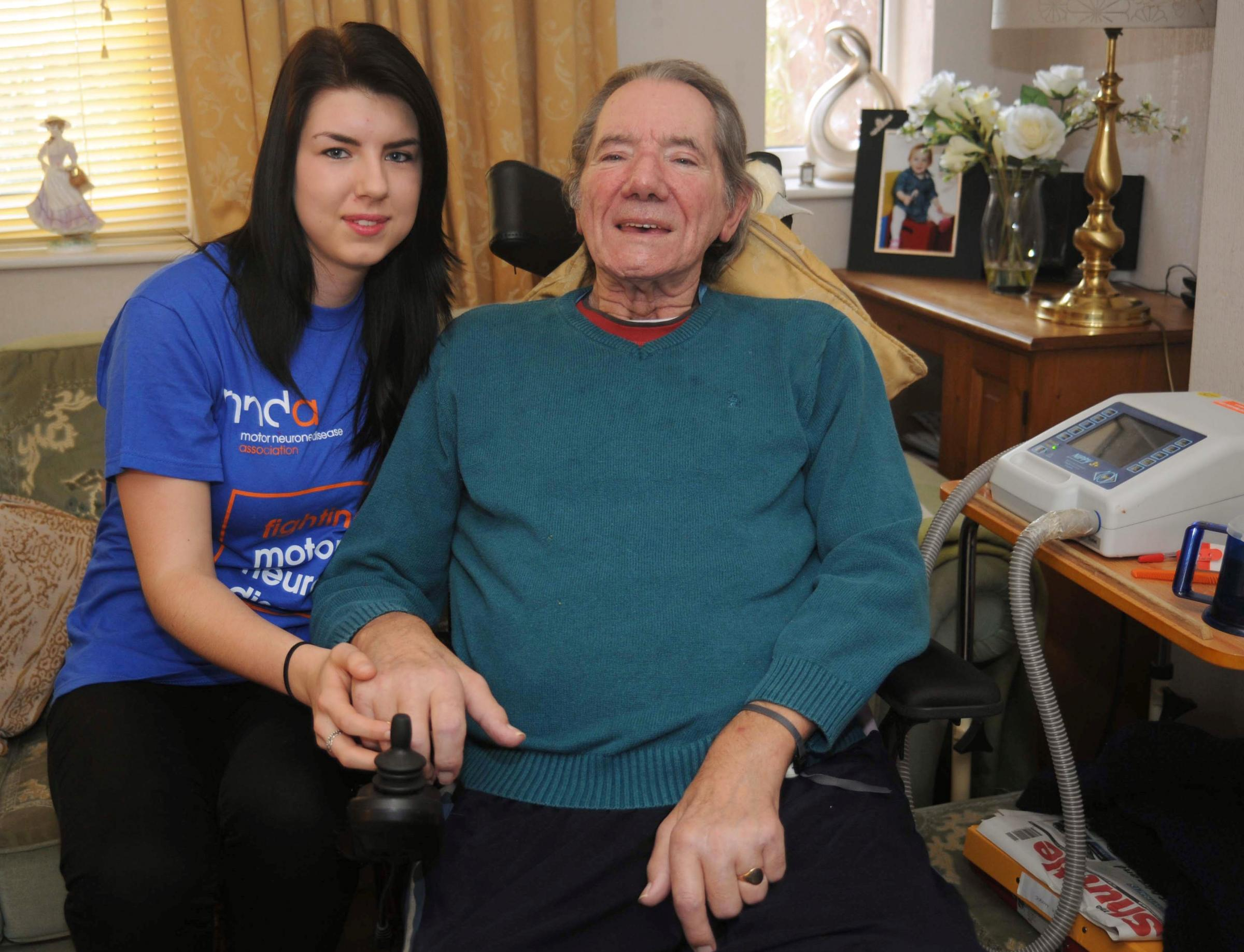 TAKING PLUNGE: Molly Chance, who will be doing a sponsored skydive, pictured with her grandfather Keith Moore.