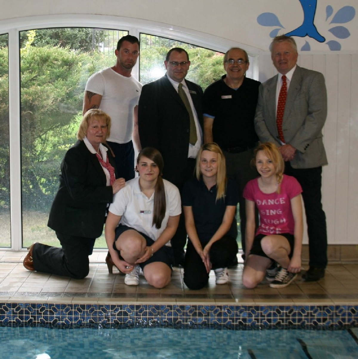 DIVING IN: The Feel Good Health Club  team get set for the Swimathon.