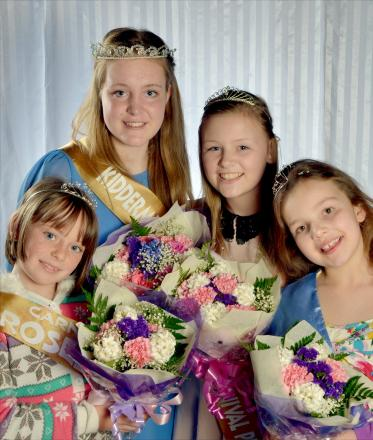 CARNIVAL ROYALTY: 2013 queen Hannah Rees with princess Katie-Lee Chadwick and rosebuds Carys Camody, left and Daisy Riddle.