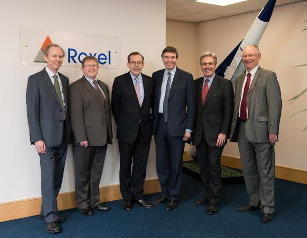 FIRM INTEREST: From left, Jim Fleming and Mark Hardman, both Roxel UK, Sir Peter Luff, Philip Dunne, Mark Garnier and Jacques Desclaux.